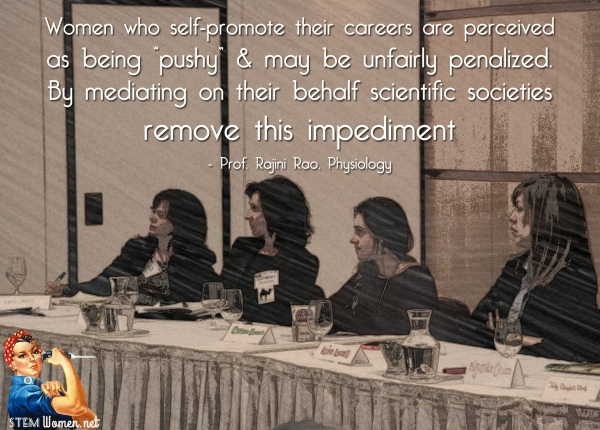 Four women sit on a panel. Quote reads: women who self-promote their careers are