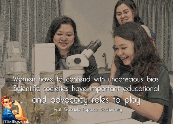 Three Asian women scientists are in the lab. Quote reads: Women have to contend with unconscious bias. Scientific societies