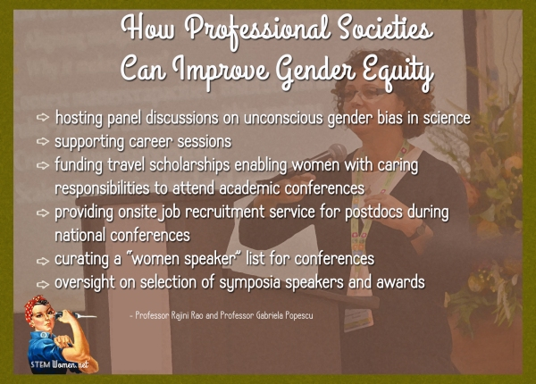 Prof Gabriela Popsecu stands at a podium. Text over the photo reads: how professional societies can improve gender equity: hosting panels on unconscious gender bias, fund travel, onsite job recuirtment, women speaker list,