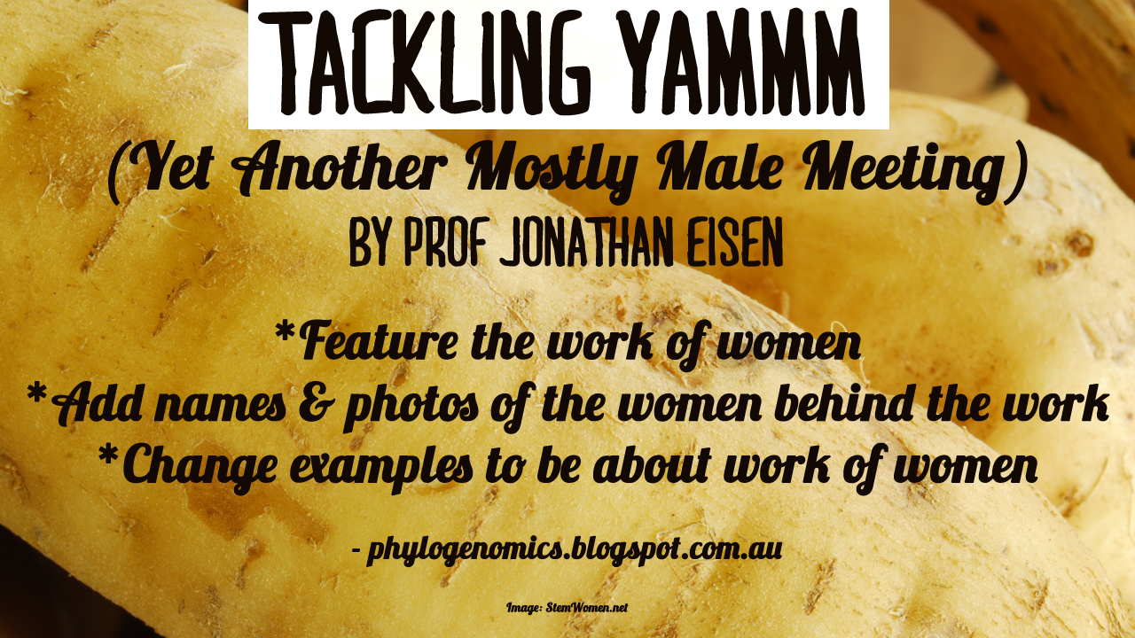 Yams in the background. Text reads: Tackling Yammm. Feature the work of women. Add names and photos of the women behind hte work. Change examples to be about the work of women